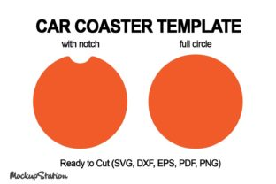 Print on Demand: Car Coaster Template SVG, Circle DXF Graphic Objects By Mockup Station