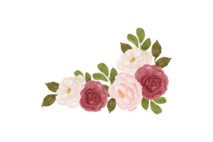 Print on Demand: Rose Flower Bouquet Watercolor Paint Graphic Illustrations By elsabenaa