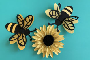 3D Bee and Sunflower Graphic 3D Flowers By Canada Crafts Studio