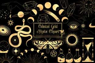 Print on Demand: Celestial Gold Mystic Clipart Graphic Illustrations By Digital Curio