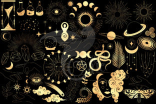 Print on Demand: Celestial Gold Mystic Clipart Graphic Illustrations By Digital Curio 2