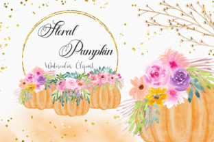 Print on Demand: Floral Pumpkin Watercolor Clipart Graphic Illustrations By PinkPearly
