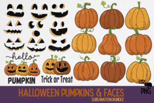 Halloween Pumpkin Face PNG Bundle Graphic Print Templates By Lazy Cat