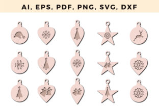 Print on Demand: Christmas Earring Template Bundle 1 Graphic 3D SVG By NGISED