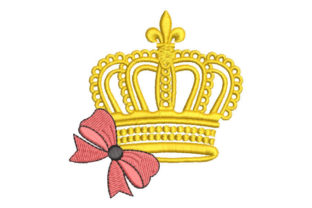 Crown with Bow Work, Religion & School Embroidery Design By Embroiderypacks