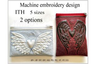 In the Hoop Cosmetic Bags Angel Wings with Heart Accessories Embroidery Design By ImilovaCreations