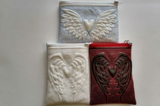 In the Hoop Cosmetic Bags Angel Wings with Heart Accessories Embroidery Design By ImilovaCreations 2