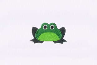 Sitting Green Frog Reptiles Embroidery Design By StitchersCorp