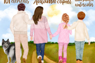 Print on Demand: Fall Family Clipart, Parents with Kids Graphic Illustrations By LeCoqDesign