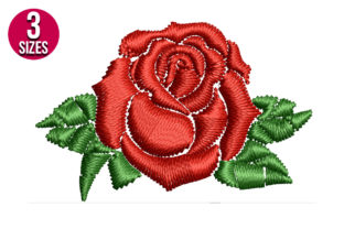Print on Demand: Mini Rose Flower Single Flowers & Plants Embroidery Design By Nations Embroidery