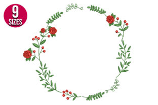 Print on Demand: Rose Wreath Floral Wreaths Embroidery Design By Nations Embroidery