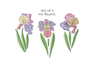Print on Demand: Set of Three Iris Flowers Single Flowers & Plants Embroidery Design By EmbArt 1
