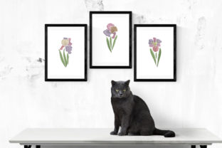 Print on Demand: Set of Three Iris Flowers Single Flowers & Plants Embroidery Design By EmbArt 3
