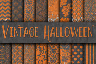 Print on Demand: Vintage Halloween Digital Papers Graphic Backgrounds By oldmarketdesigns