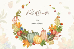 Watercolor Fall Wreath Clipart Graphic Illustrations By KaleArtCreative