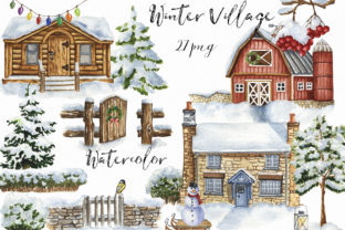 Watercolor Winter Village Clipart. Graphic Illustrations By KaleArtCreative