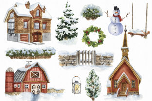Watercolor Winter Village Clipart. Graphic Illustrations By KaleArtCreative 2
