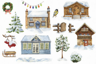 Watercolor Winter Village Clipart. Graphic Illustrations By KaleArtCreative 3