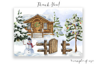 Watercolor Winter Village Clipart. Graphic Illustrations By KaleArtCreative 4