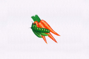 Carrots and Peas Food & Dining Embroidery Design By StitchersCorp