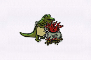 Cooking Alligator Reptiles Embroidery Design By StitchersCorp