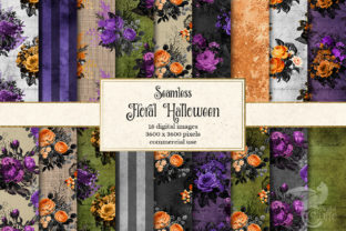 Print on Demand: Floral Halloween Digital Paper Graphic Patterns By Digital Curio