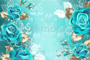 Lacy Background with Turquoise Roses Graphic Illustrations By Blackmoon9