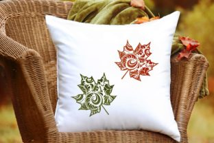 Maple Leaf Curly Floral & Garden Embroidery Design By LaceArtDesigns 1