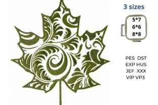 Maple Leaf Curly Floral & Garden Embroidery Design By LaceArtDesigns 2