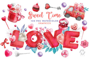 Print on Demand: Valentine Sweet Love Watercolor Clipart Graphic Illustrations By nesdigiart