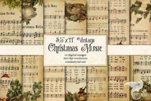 Print on Demand: Vintage Christmas Music Digital Paper Graphic Textures By Digital Curio