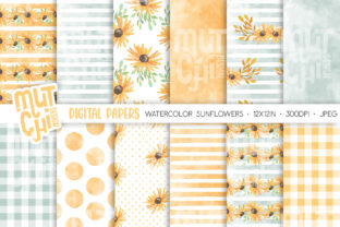Print on Demand: Watercolor Sunflower Digital Papers Graphic Backgrounds By MutchiDesign