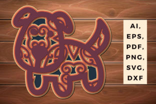 Print on Demand: Multi Layer Paper Cut Dog 3d Svg Decor Graphic 3D SVG By NGISED