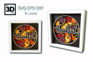 3D THANKFUL SVG Graphic 3D Shadow Box By my3dsvg