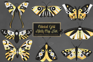 Print on Demand: Celestial Gold Moth Clipart Graphic Illustrations By Digital Curio