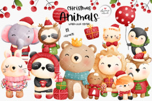 Print on Demand: Christmas Animals Clipart, Christmas Graphic Illustrations By Chonnieartwork
