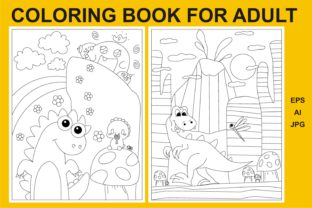Print on Demand: Coloring Book for Adult Cute Dino Graphic KDP Interiors By edywiyonopp