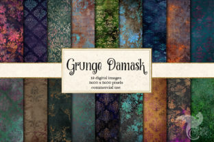 Print on Demand: Grunge Damask Digital Paper Graphic Textures By Digital Curio
