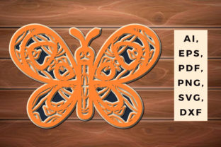 Print on Demand: Multi Layer Butterfly Laser Cut Ornament Graphic 3D SVG By 3dsvg