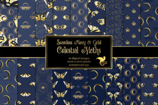 Print on Demand: Navy and Gold Celestial Moth Patterns Graphic Patterns By Digital Curio
