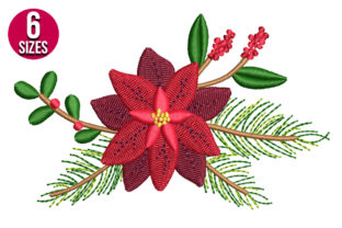 Print on Demand: Poinsettia Flower Christmas Embroidery Design By Nations Embroidery