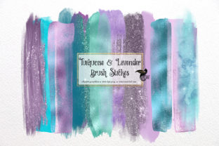Print on Demand: Turquoise and Lavender Brush Strokes Graphic Illustrations By Digital Curio