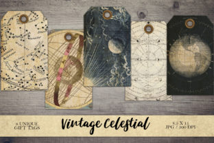 Print on Demand: Vintage Celestial Gift Tags Graphic Objects By Digital Attic Studio
