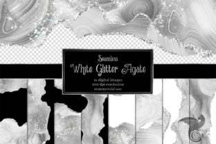 Print on Demand: White Glitter Agate Graphic Textures By Digital Curio