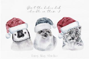 Print on Demand: Christmas Watercolor Animals PNG Graphic Illustrations By Busy May Studio 10