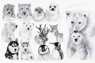 Print on Demand: Christmas Watercolor Animals PNG Graphic Illustrations By Busy May Studio 2