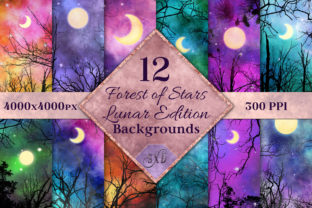 Print on Demand: Lunar Edition - Forest Stars Backgrounds Graphic Backgrounds By SapphireXDesigns