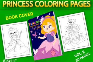 Print on Demand: Princess Coloring Pages with Book Cover Graphic Coloring Pages & Books Kids By Simran Store