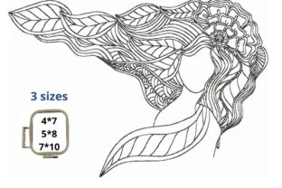 Zentangle Girl Zentangle Embroidery Design By LaceArtDesigns 2