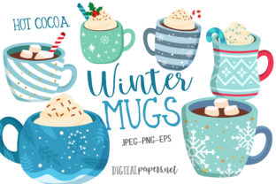 Print on Demand: Winter Hot Cocoa Mugs Graphic Illustrations By DigitalPapers